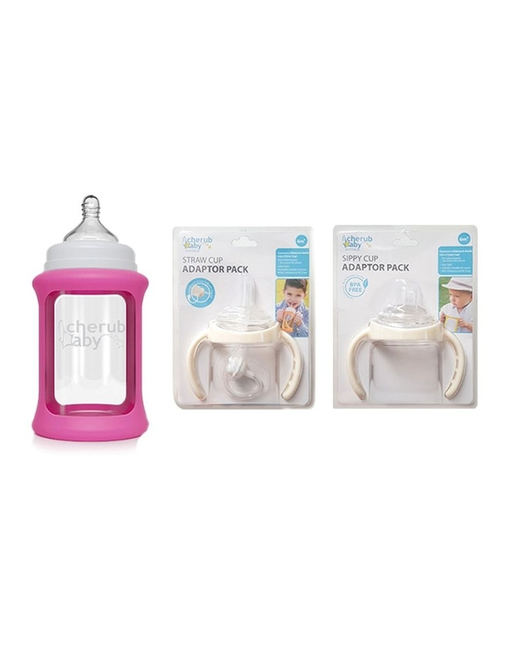 Ultimate Glass Baby Bottle Sippy & Straw Cup Kit - Pink  (With Bonus Bottle) image 1