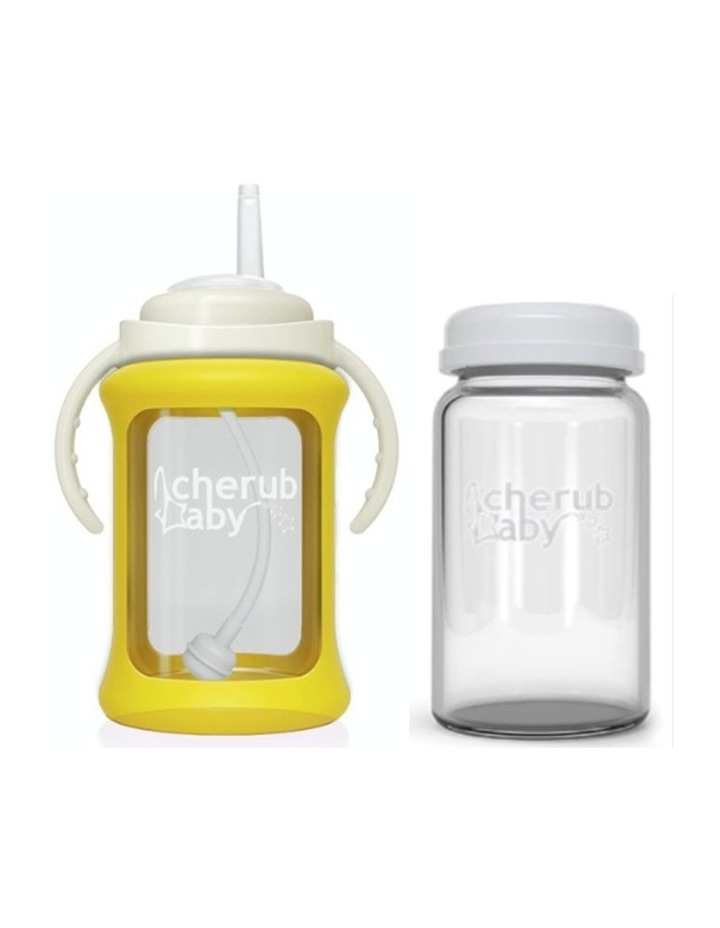 Wide Neck Glass Straw Cup With Colour Change Sleeve 240ml Yellow (With Bonus Bottle) image 1