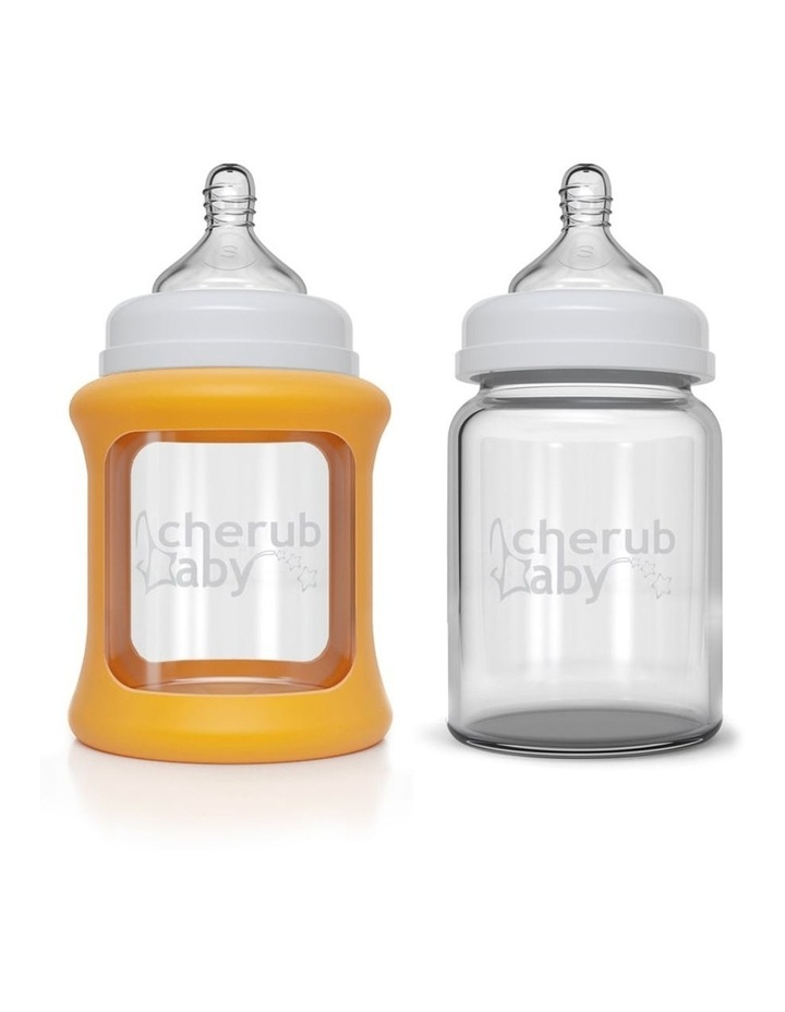 Cherub Baby Colour Change Glass Bottles Wide Neck 150ml Twin , Orange / New image 1