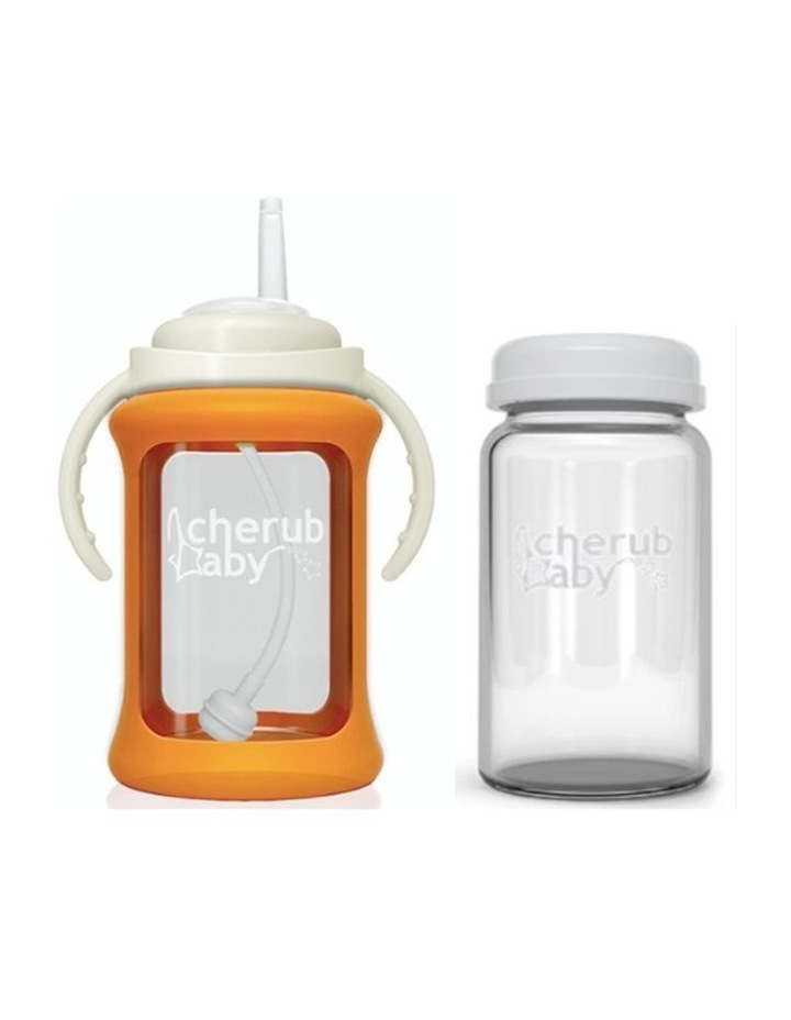 Wide Neck Glass Straw Cup With Colour Change Sleeve 240ml - Orange (With Bonus Bottle) image 1