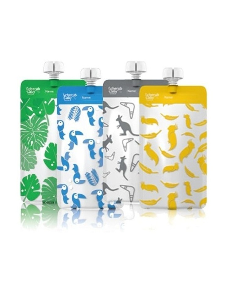 On The Go Food Pouch Mini Bundle - Grey, Yellow, Blue, Green 20Pk image 1