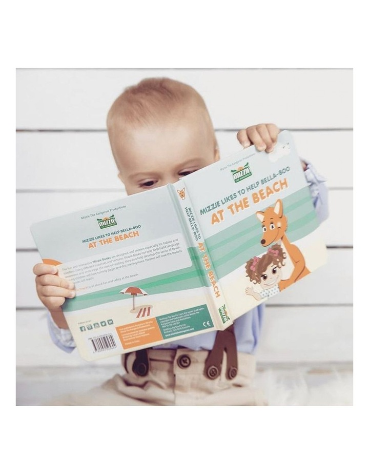At The Beach Baby Board Book Gift Set with Mizzie Teething Toy image 3