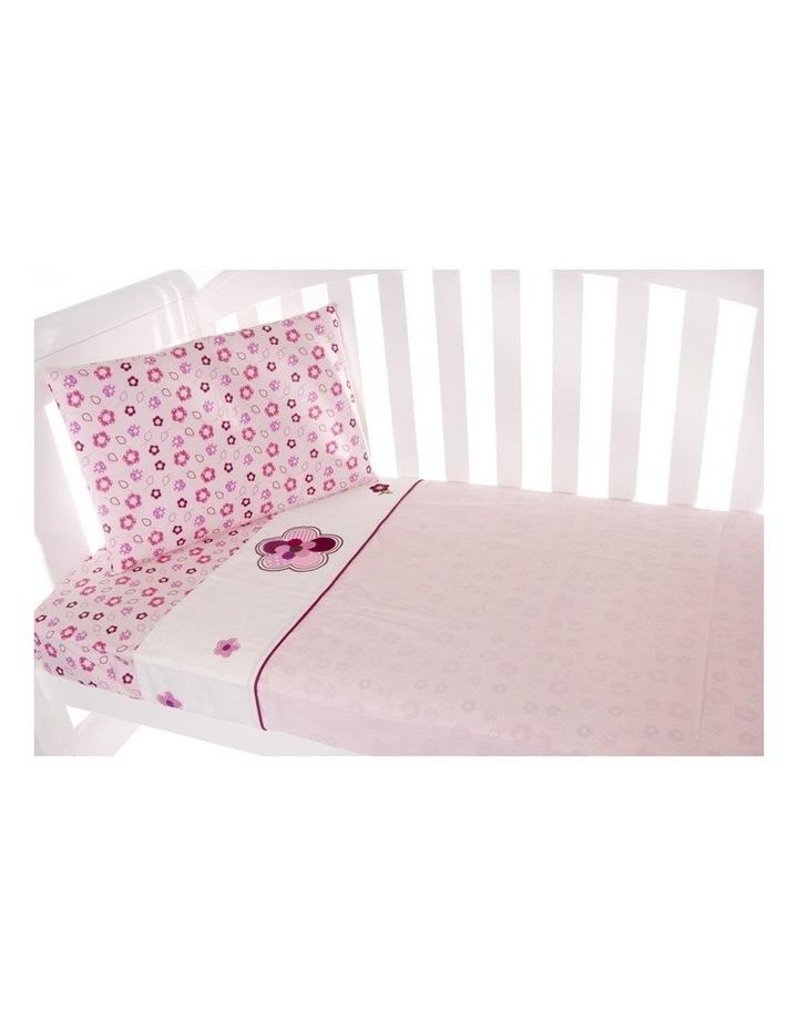 Amani Bebe 3pce Cot Sheet Set - Raspberry Garden image 2