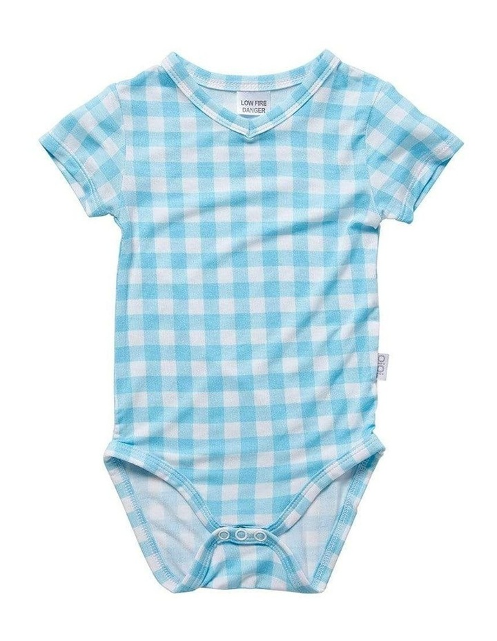 V-Neck Bodysuit - Blue Gingham image 1