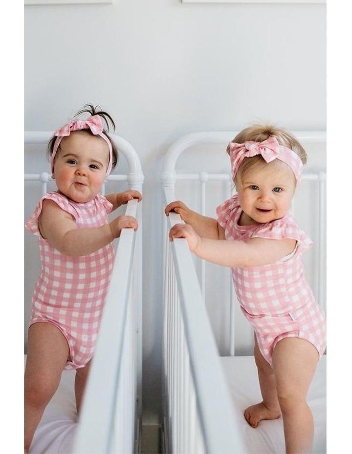 Ruffled Cap Sleeve Bodysuit - Pink Gingham image 2