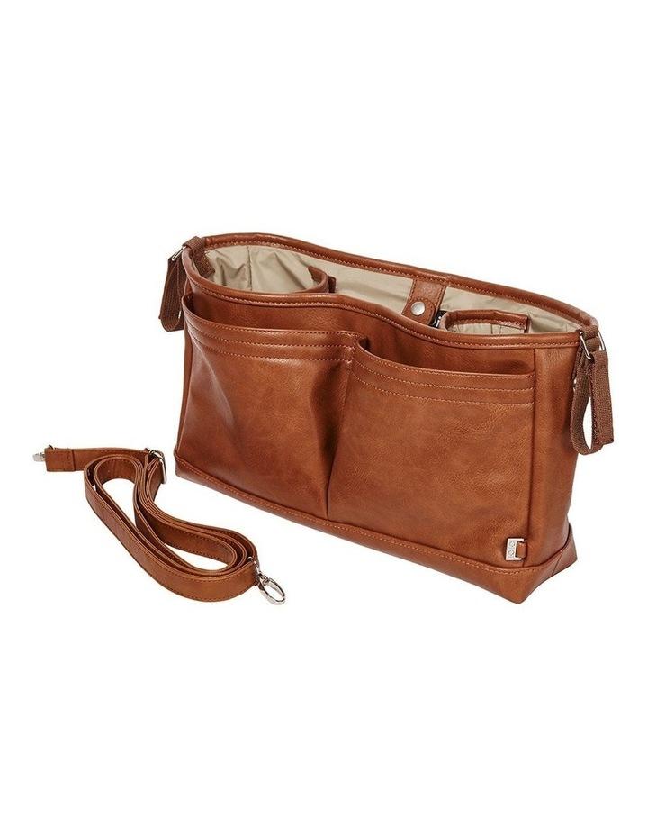 Faux Leather Stroller Organiser/Pram Caddy - Tan image 1