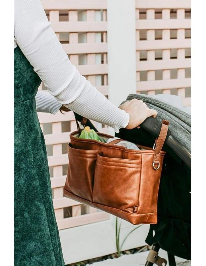 Faux Leather Stroller Organiser/Pram Caddy - Tan image 2