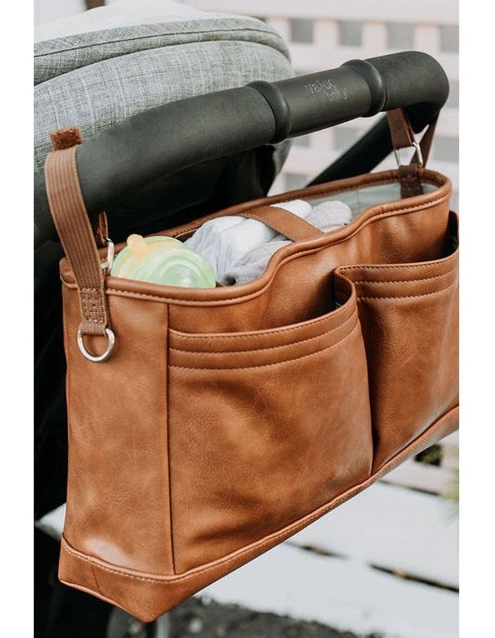 Faux Leather Stroller Organiser/Pram Caddy - Tan image 3