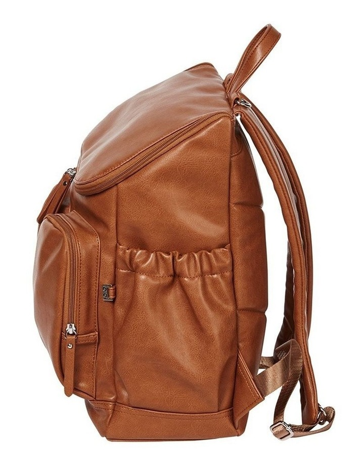 Faux Leather Nappy Backpack - Tan image 3