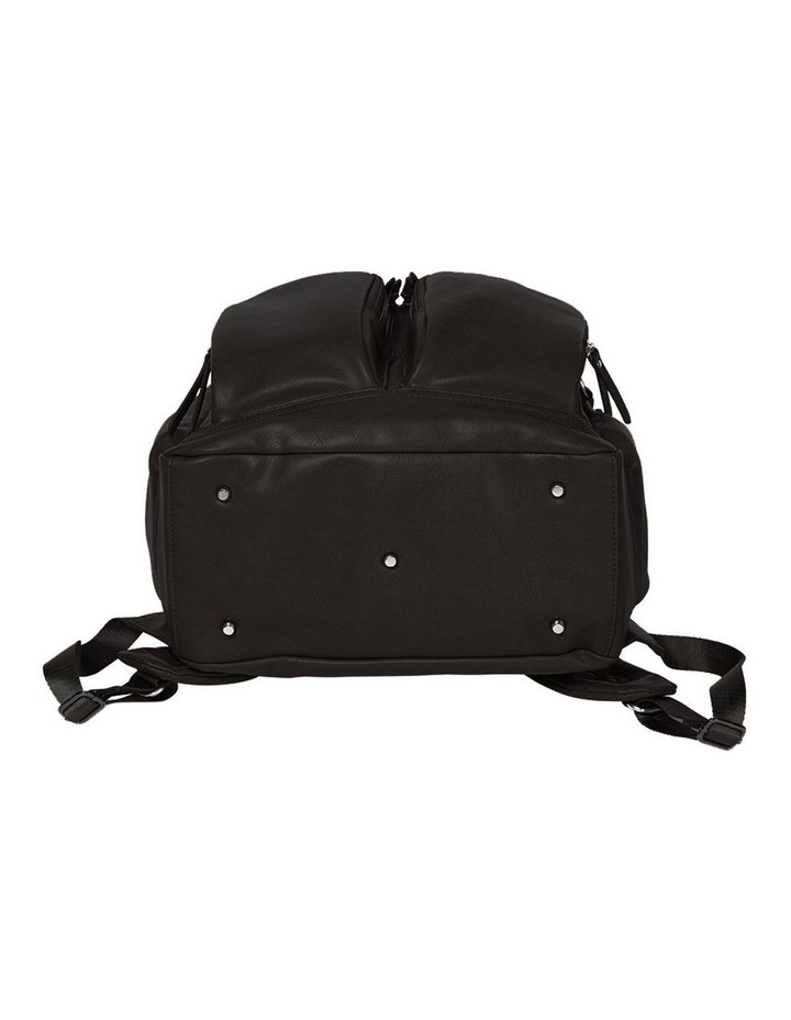 Faux Leather Nappy Backpack - Black image 3