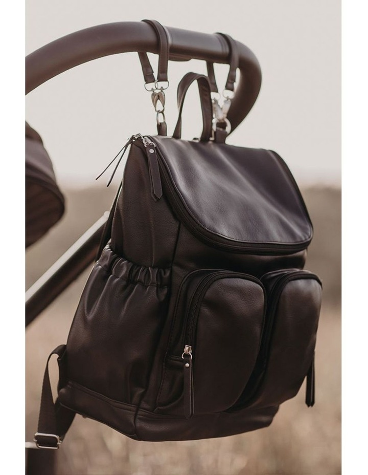 Faux Leather Nappy Backpack - Black image 4