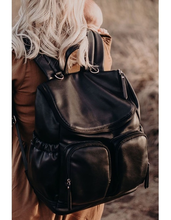 Faux Leather Nappy Backpack - Black image 6