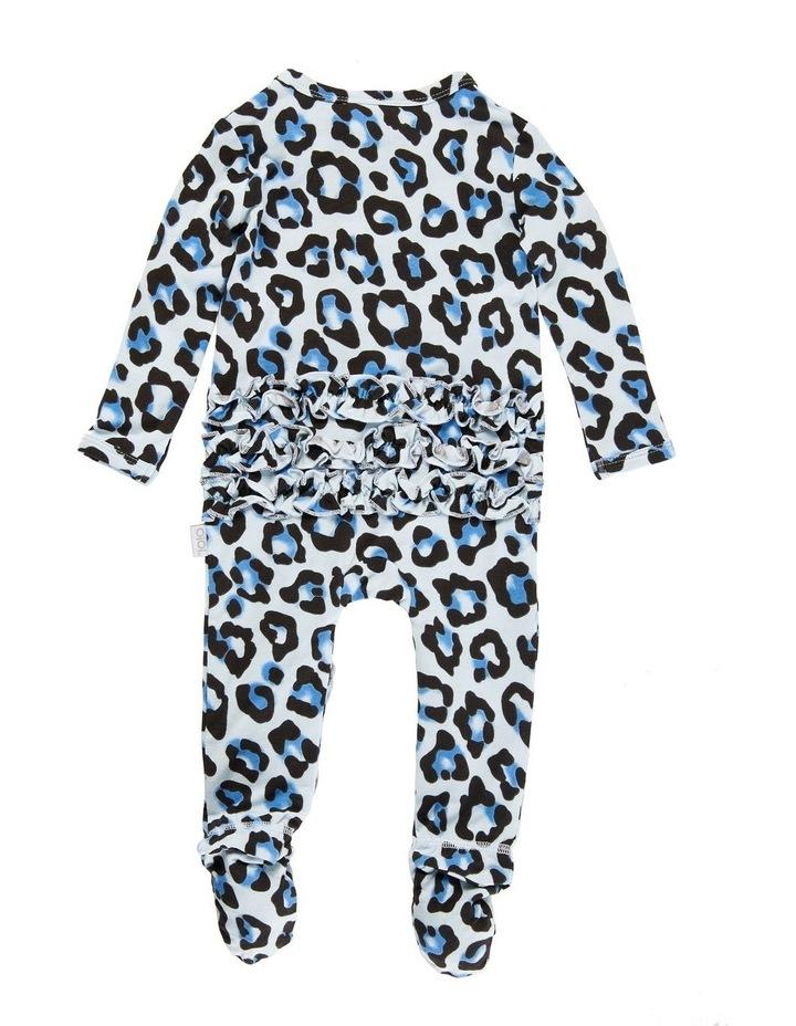 Zip Ruffled Romper - Blue Leopard image 2