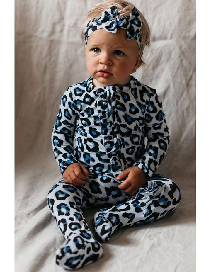 Zip Ruffled Romper - Blue Leopard image 3