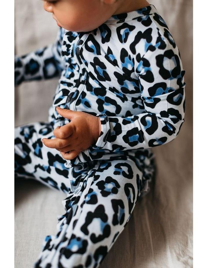 Zip Ruffled Romper - Blue Leopard image 4