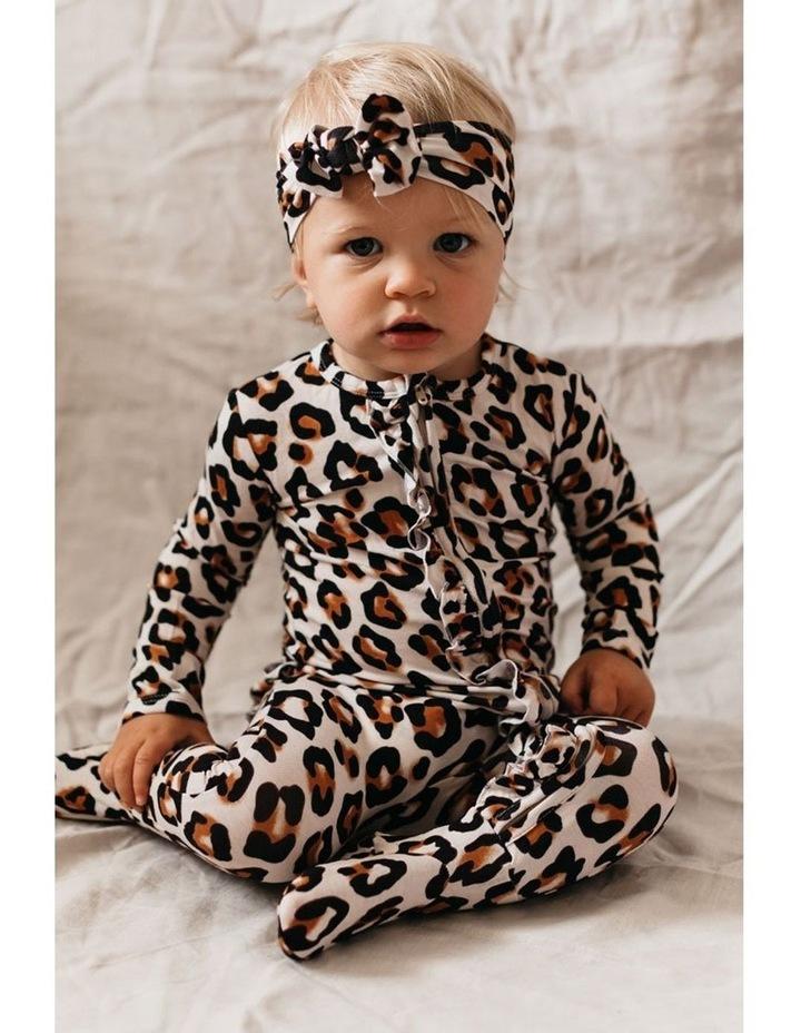 Zip Ruffled Romper - Natural Leopard image 4