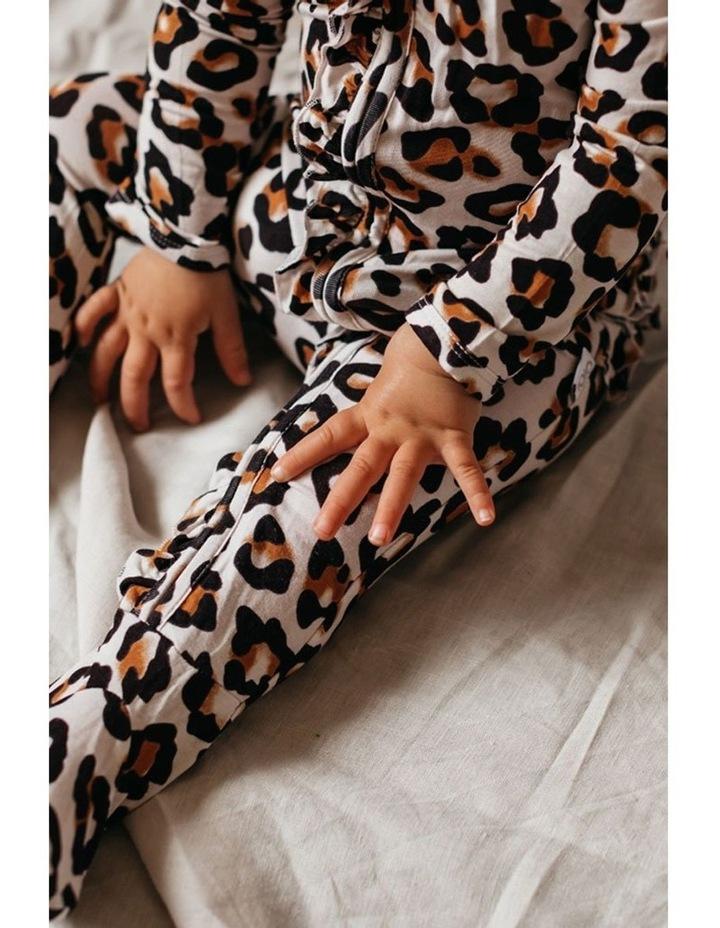 Zip Ruffled Romper - Natural Leopard image 6