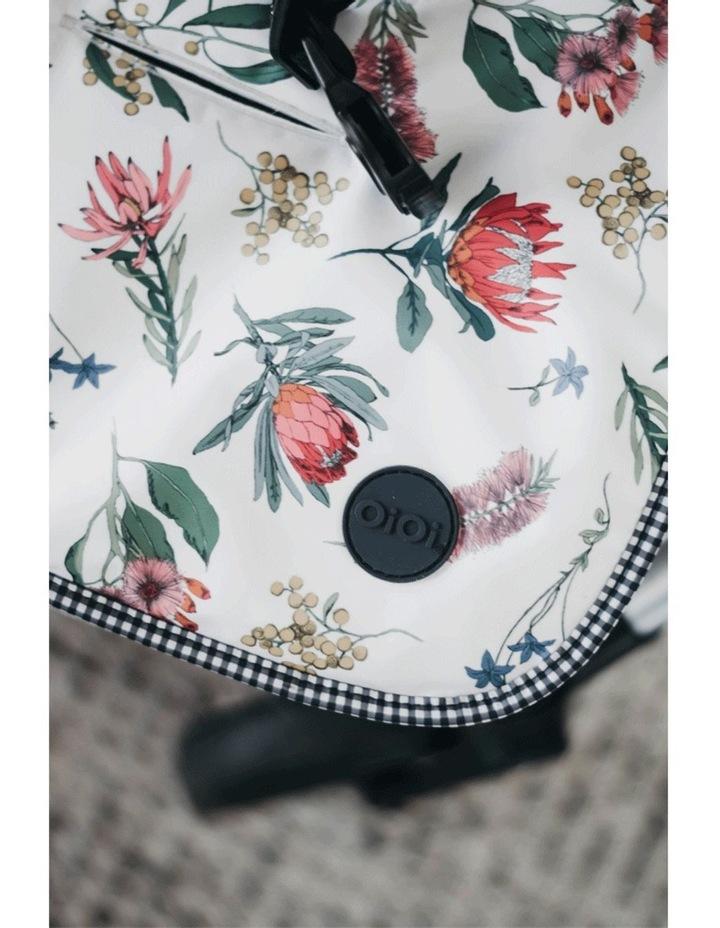 Reversible pram liner - Botanical/Navy/White Gingham image 3