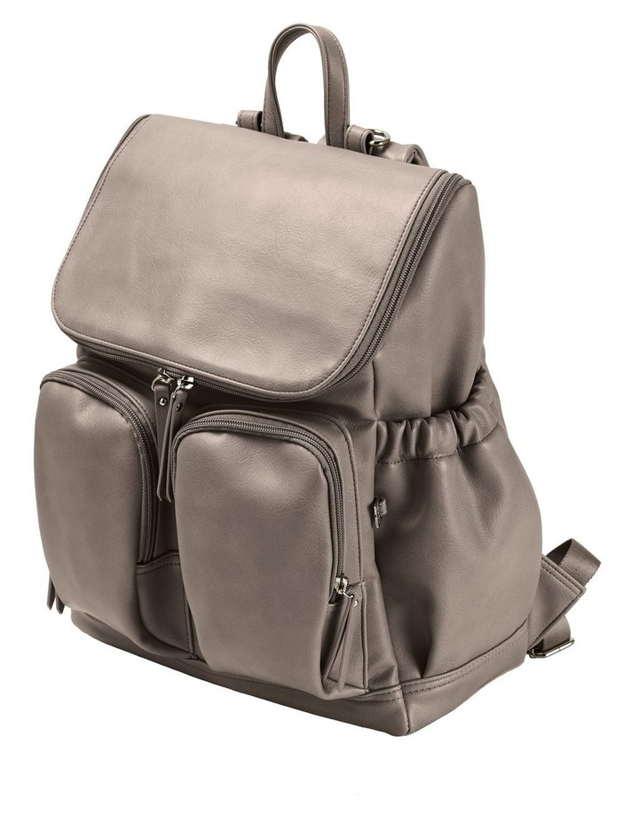 Faux Leather Nappy Backpack - Taupe image 1