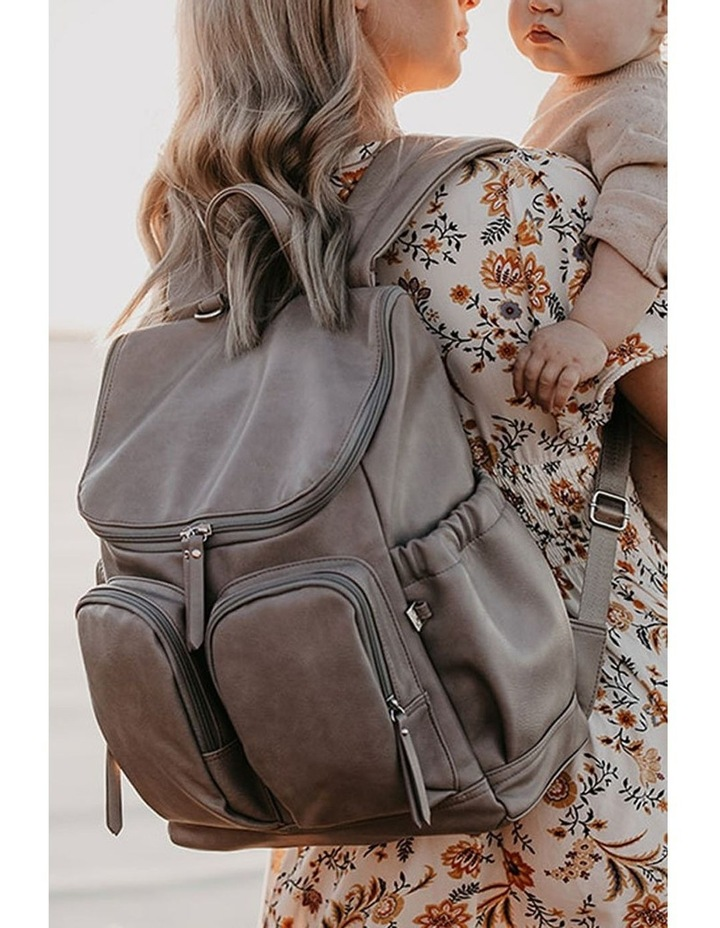 Faux Leather Nappy Backpack - Taupe image 2