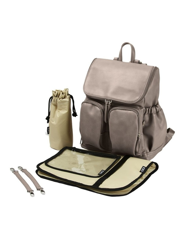 Faux Leather Nappy Backpack - Taupe image 3