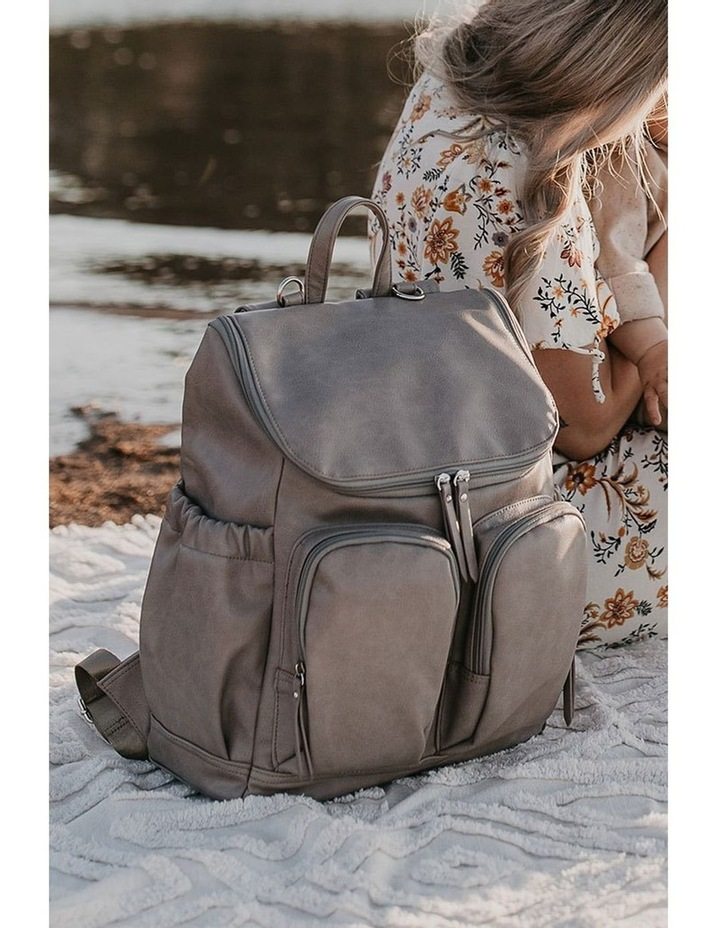 Faux Leather Nappy Backpack - Taupe image 4