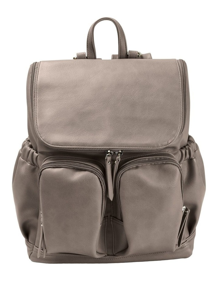 Faux Leather Nappy Backpack - Taupe image 5
