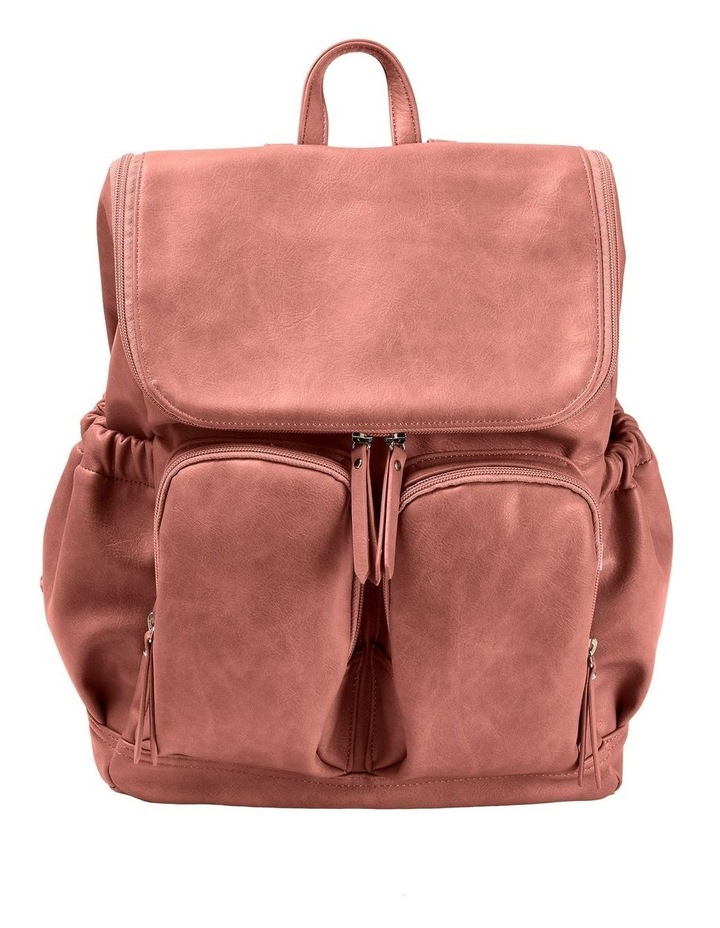 Faux Leather Nappy Backpack - Dusty Rose image 1