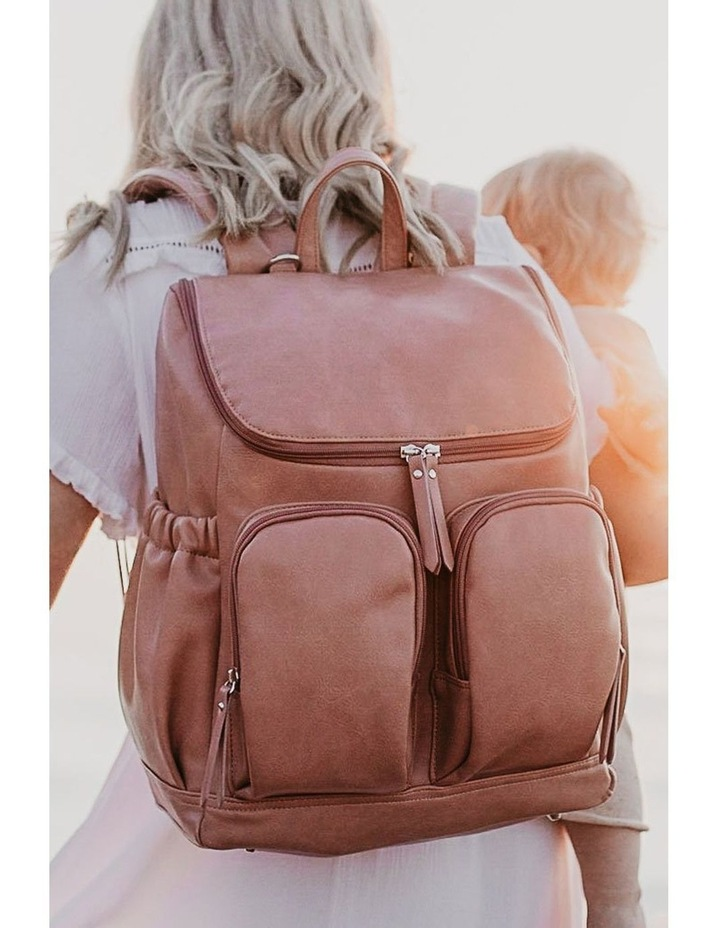Faux Leather Nappy Backpack - Dusty Rose image 2