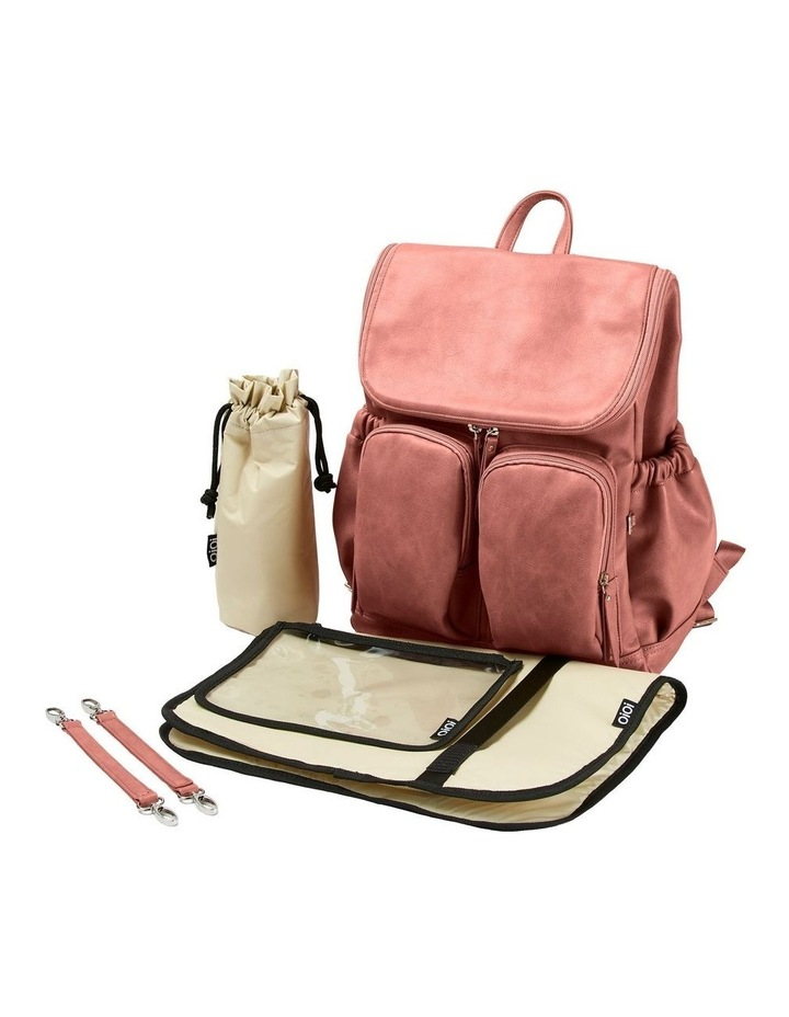 Faux Leather Nappy Backpack - Dusty Rose image 4