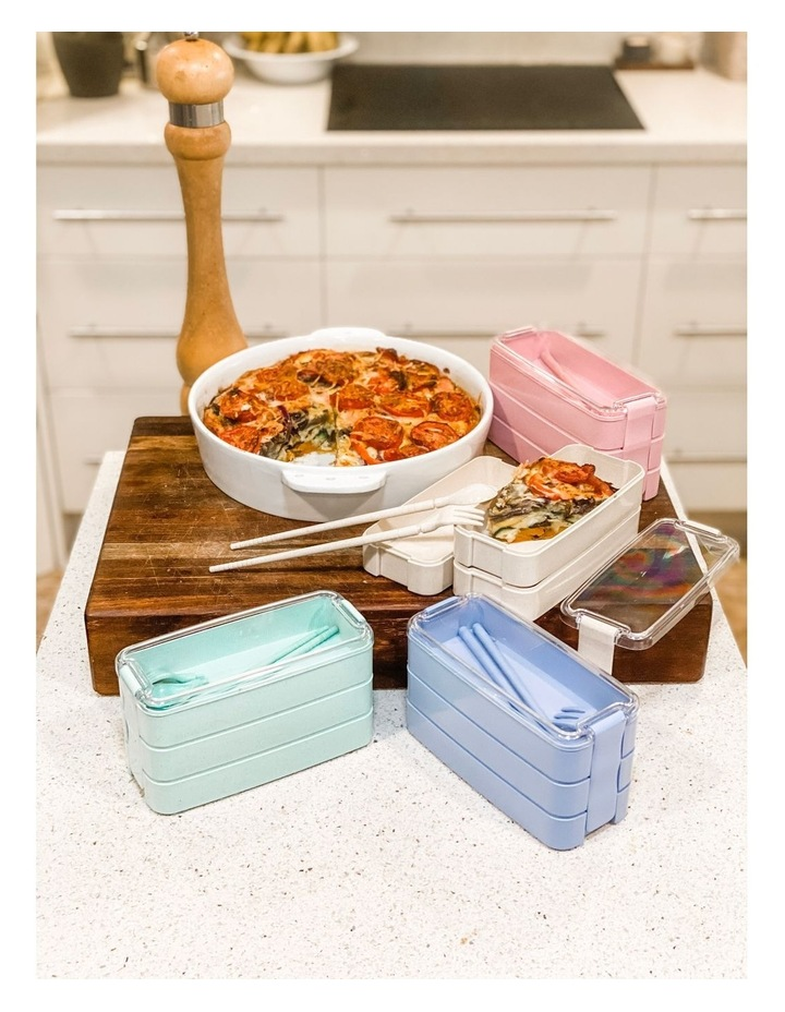 Bento Lunch Box - 3 Tiered - Blue image 2