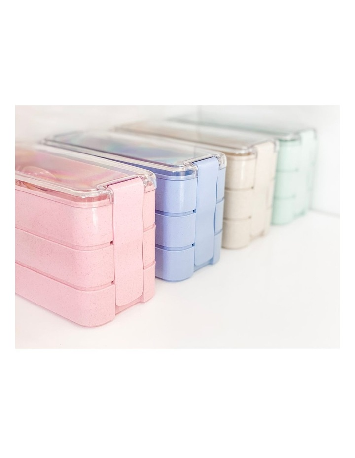 Bento Lunch Box - 3 Tiered - Blue image 3