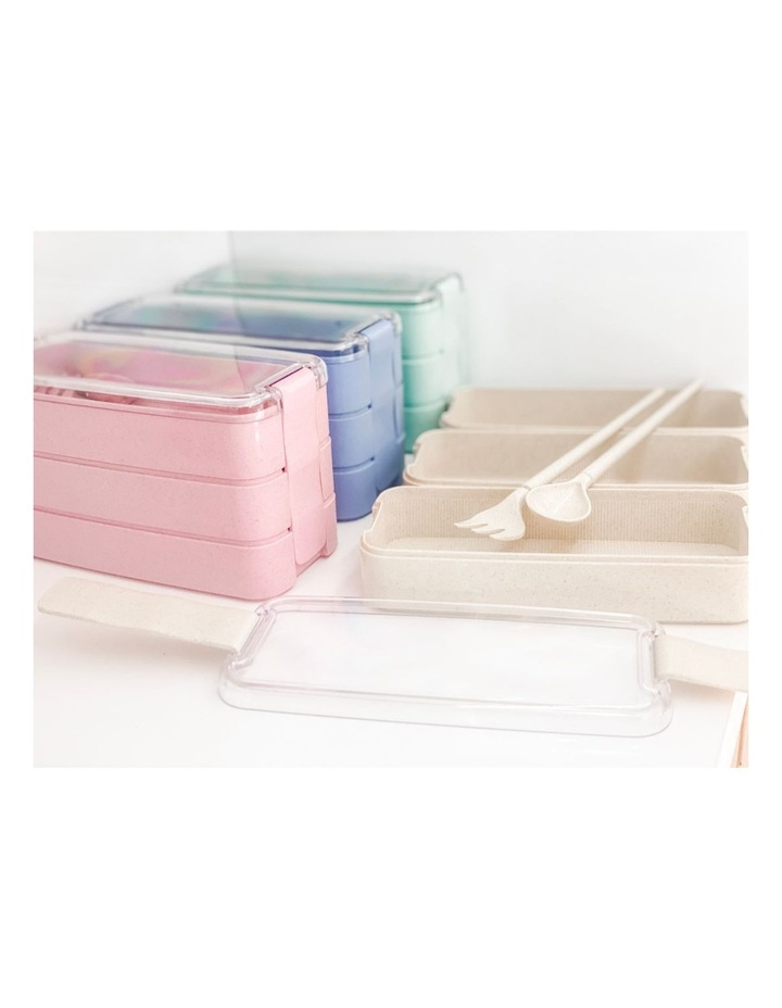 Bento Lunch Box - 3 Tiered - Blue image 4