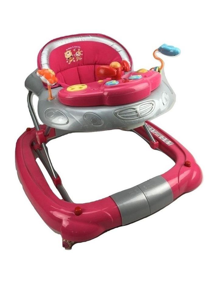 Fuchsia Pink Car 2-in-1 Baby Walker & Rocker image 1