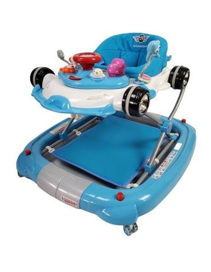Racing Car 4-in-1 Baby Walker & Rocker - Blue image 1