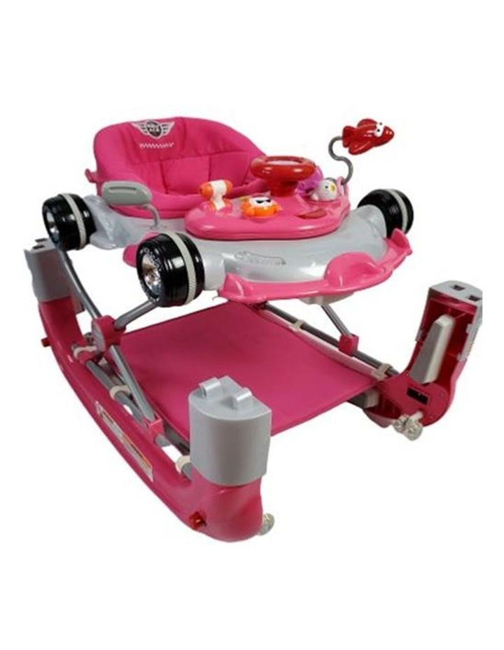 Racing Car 4-in-1 Baby Walker & Rocker - Pink image 1