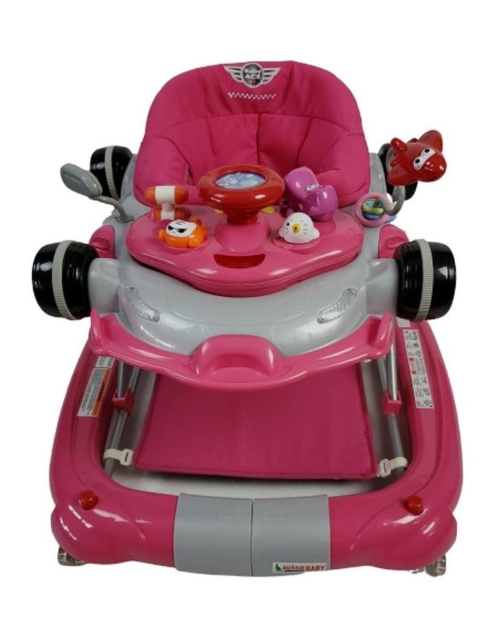 Racing Car 4-in-1 Baby Walker & Rocker - Pink image 4
