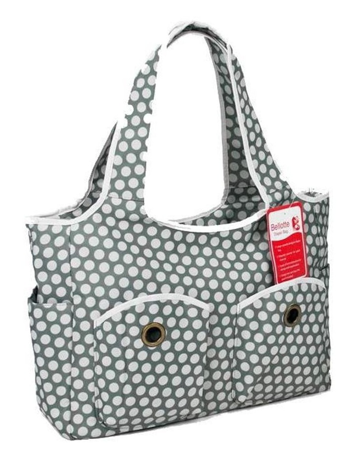 Tote Nappy Bag - Grey White Dots image 1