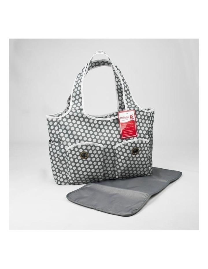 Tote Nappy Bag - Grey White Dots image 2