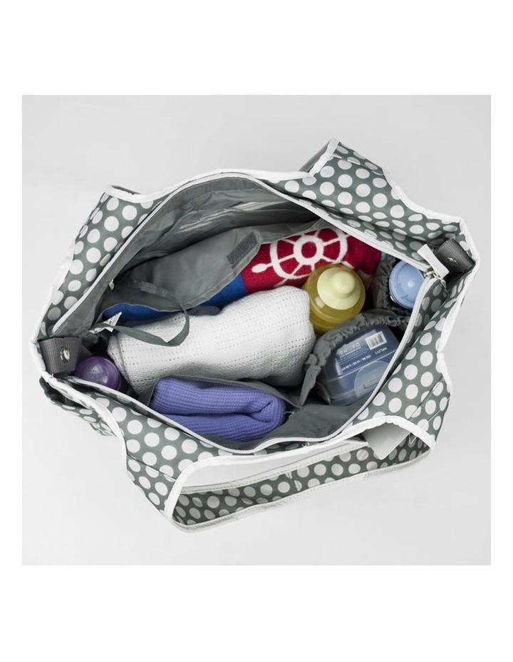 Tote Nappy Bag - Grey White Dots image 3