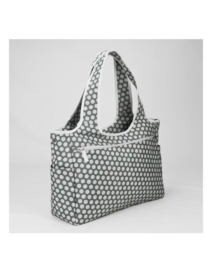 Tote Nappy Bag - Grey White Dots image 4