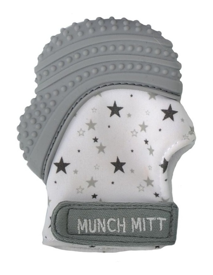 Munch Mitt Teething Mitten Grey Stars image 1