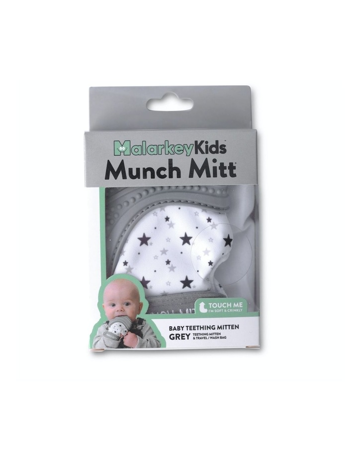 Munch Mitt Teething Mitten Grey Stars image 2