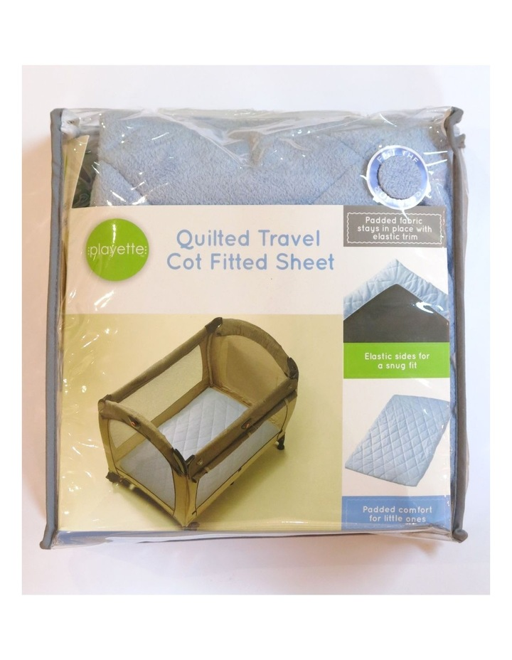 Quilted Travel Cot Fitted Padded Sheet Blue image 2