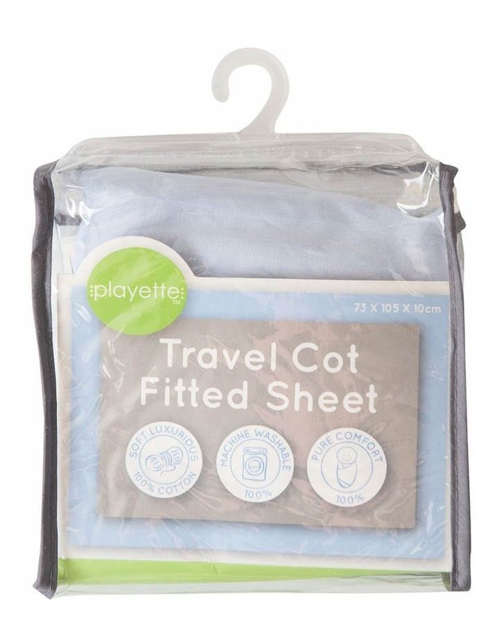 Travel Cot Fitted Sheet Blue image 1