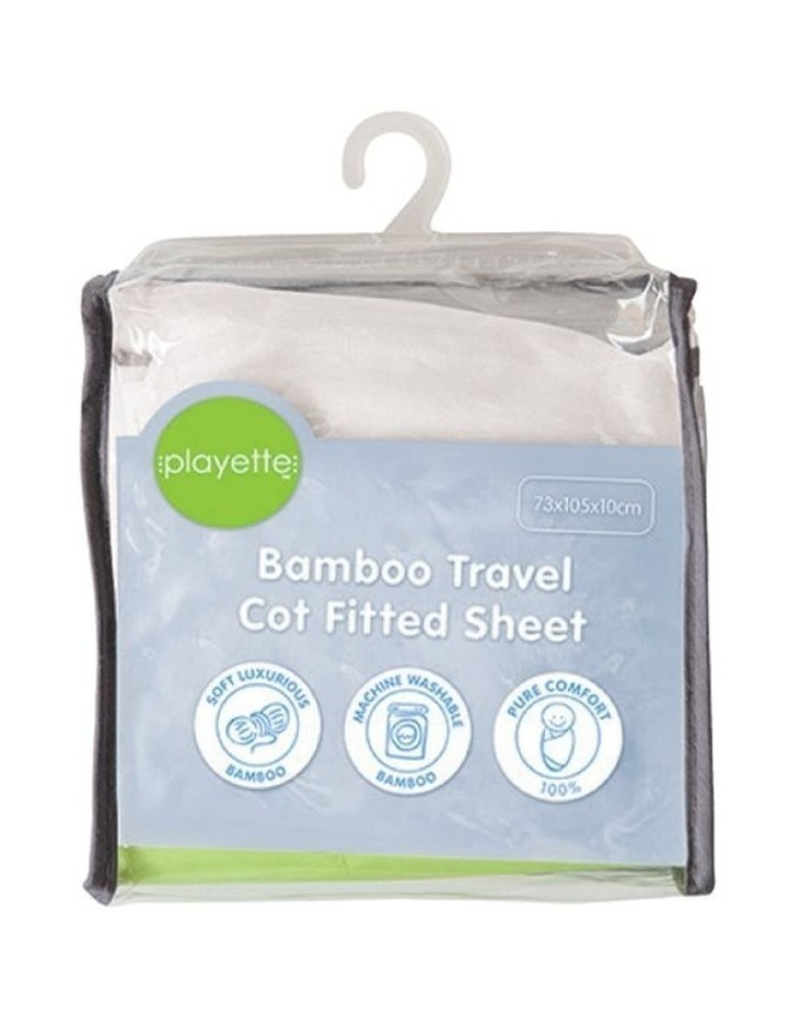 Bamboo Travel Cot Fitted Sheet White image 1