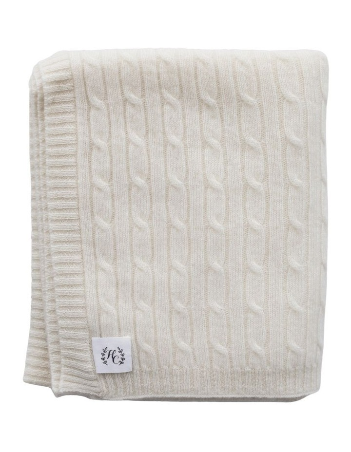 Cashmere Cable Knit Baby Blanket - Snow image 1