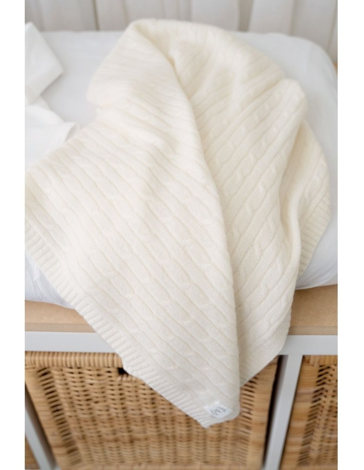 Cashmere Cable Knit Baby Blanket - Snow image 2