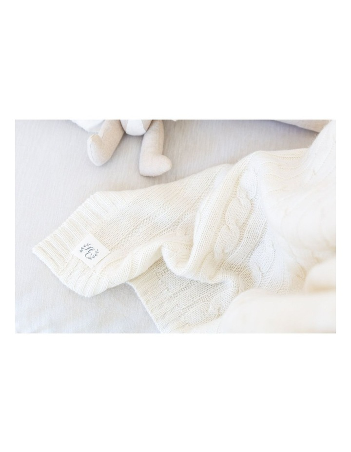 Cashmere Cable Knit Baby Blanket - Snow image 3