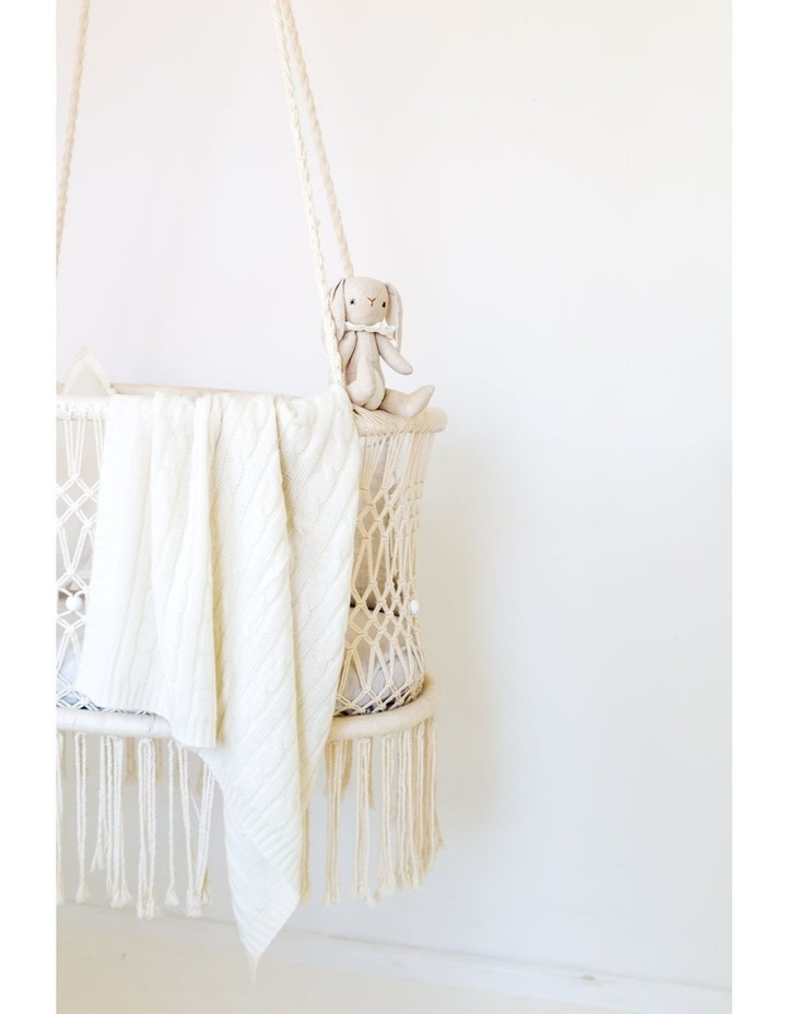 Cashmere Cable Knit Baby Blanket - Snow image 4